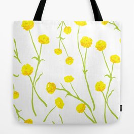 Summer Flower Pattern in Yellow and Green Tote Bag