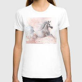 Running  arabian horse watercolor art T-shirt