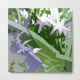 Tiny purple flowers, green blue purple white, digital Metal Print