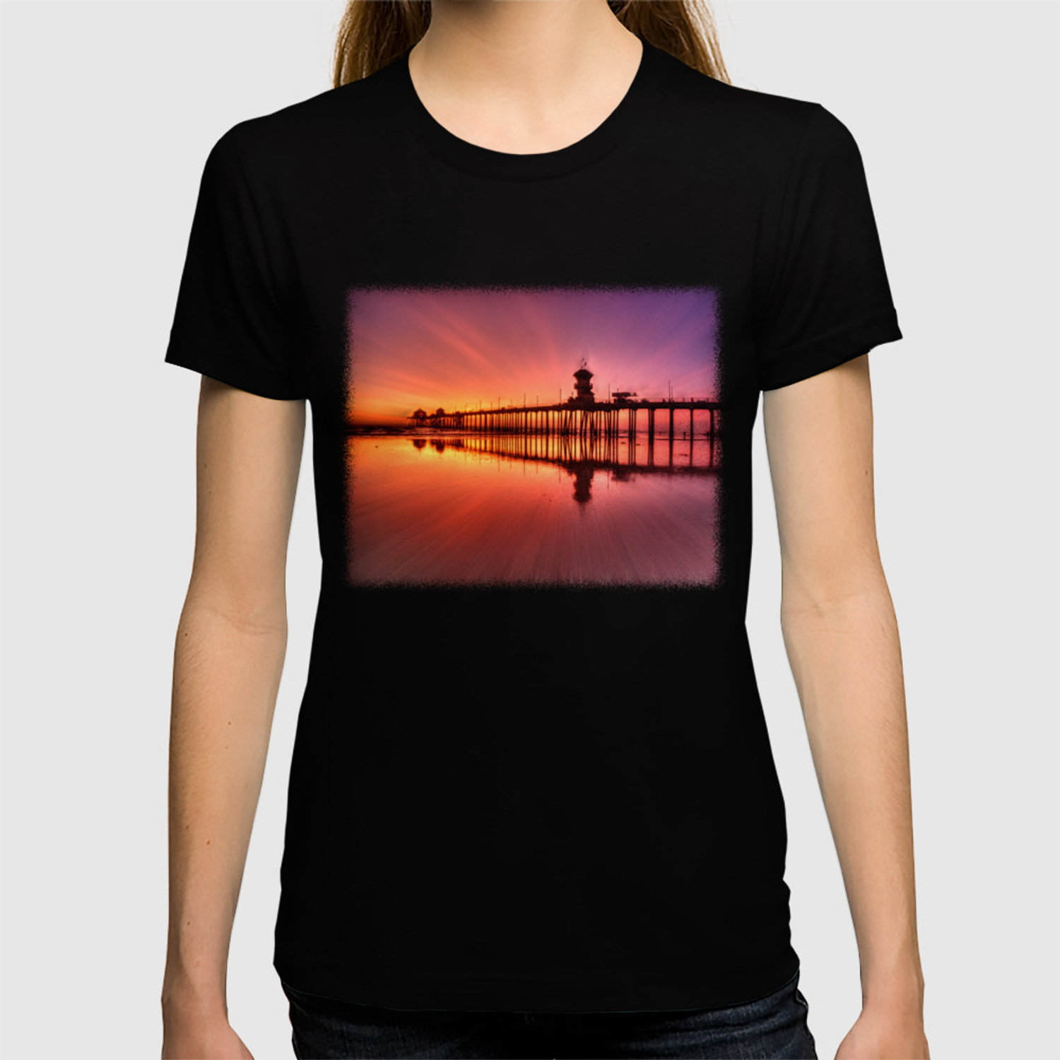 Sunset In Motion Huntington Beach Pier Photo Steve Berger T Shirt By Johnlymanphotos Society6