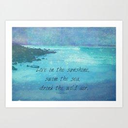 Sunshine quote sea Emerson inspirational Art Print