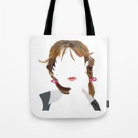 britney Tote Bags featuring Britney by Bethany Mallick