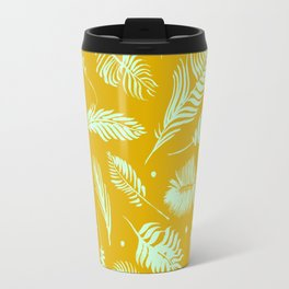 Golden palm pattern with bright mint color Travel Mug