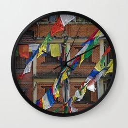 BOUDHANATH HOUSES AND FLAGS KATHMANDU NEPAL Wall Clock