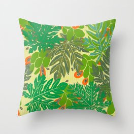 papaya trees Throw Pillow