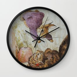 Bunny vs Kitty Wall Clock