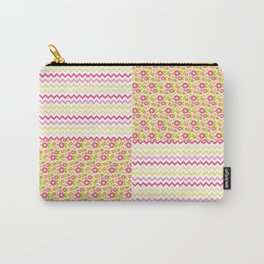 Pink n Green Country Chevron and Floral Checkered Carry-All Pouch