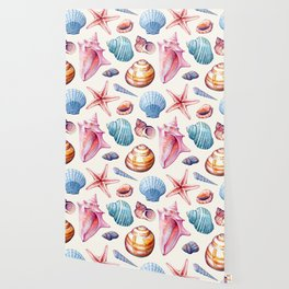 Seashells Pattern 1 - Colorful light Wallpaper