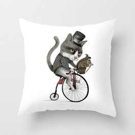 THE CAT AND THE SQUIRREL  Throw Pillow