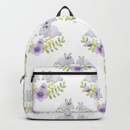 Purple lavender white bunny watercolor floral illustration Backpack