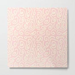 Abstract pastel pink ivory geometrical swirls pattern Metal Print