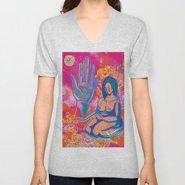 Pink Mudra Meditation Unisex V-Neck