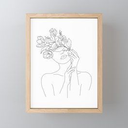 Female Head Of Flowers Framed Mini Art Print