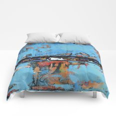 Stallion Blue Modern Painting Abstract Art Landscape Comforters