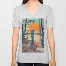 Japan Blossom Cobbled Bridge. Unisex V-Neck