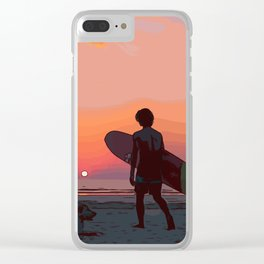 Surf dude with dog at the sea by sunset Clear iPhone Case