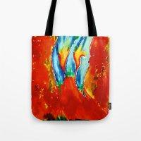 gemini Tote Bags featuring Gemini by SteeleCat