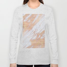 Marble - Rose Gold with Yellow Gold Glitter Shimmery Marble Long Sleeve T-shirt
