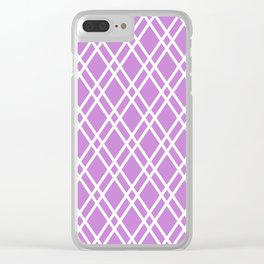 Bright lilac and white rhombus lines pattern Clear iPhone Case