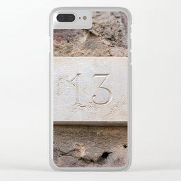 Number 13 carved in marble Clear iPhone Case