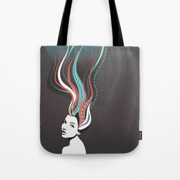 Girl with long colored waves hair Tote Bag
