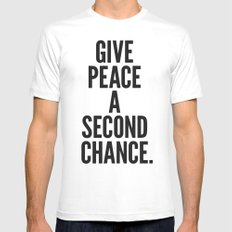 Give Peace a Second Chance. White MEDIUM Mens Fitted Tee