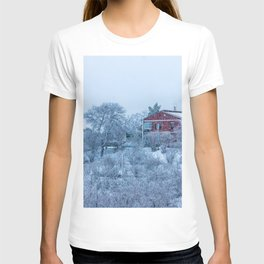 Red house lost in a snowy storm T-shirt