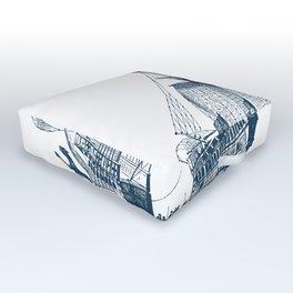Blue vintage nautical wind sailing boat Outdoor Floor Cushion