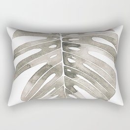 Beige Monstera Leaf Rectangular Pillow