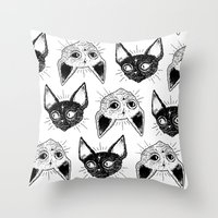 kittens Throw Pillows featuring Kittens  by lOll3