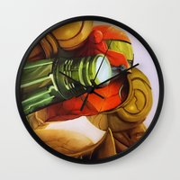 metroid Wall Clocks featuring Metroid by JeyJey Artworks