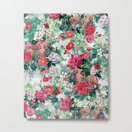 Leopards and Flowers Metal Print