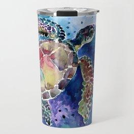 Sea Turtle underwater, beach deep blue barine blue turtle beach style design Travel Mug