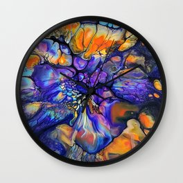 Purple and Orange Marble Pour Wall Clock