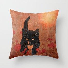 cat in the dandelion field Throw Pillow