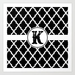 Black Monogram: Letter K Art Print