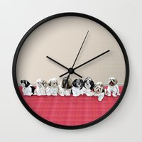 shih tzu Wall Clocks featuring Shih Tzu Zone by The Huggable Dog (and friends)