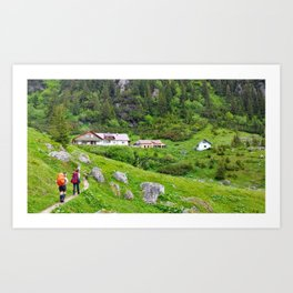 Hikers at the cabin Art Print