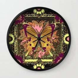 Ornate Mauve Swallow Tailed Butterfly Yellow-Khaki Design Wall Clock