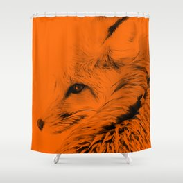 red fox digital acryl painting acrob Shower Curtain