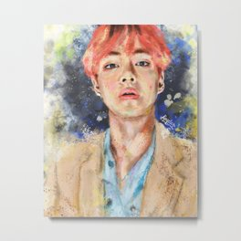 Taehyung with pink hair Metal Print
