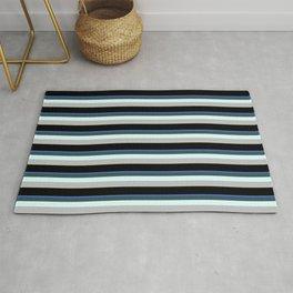 Eye-catching Royal Blue, Dark Slate Gray, Light Cyan, Grey & Black Colored Striped Pattern Rug