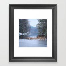Blue Moment By The Lake  Framed Art Print