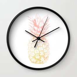 Pink and Yellow Pineapple Wall Clock