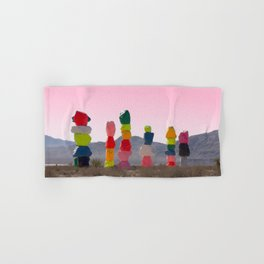 Seven Magic Mountains with Pink Sky - Las Vegas Hand & Bath Towel