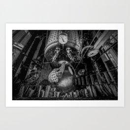 The Paddle Steamer Fireman (black & white) Art Print