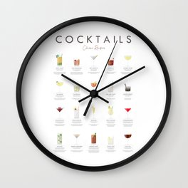 Cocktail Chart - Classic Cocktails Wall Clock