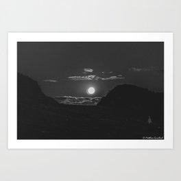 Moon Rise Denmark Bjerregard Beach bw Art Print