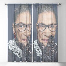 Ruth Bader Ginsburg with Lace Glove Sheer Curtain
