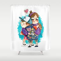 gravity falls Shower Curtains featuring Gravity Falls Super Group Hug! by Super Group Hugs